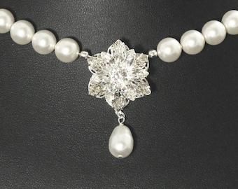 Pearl Bridal Necklace, Rhinestone Y Drop Necklace, Crystal Bridal Jewelry, Pearl Wedding Necklace -- DIANA