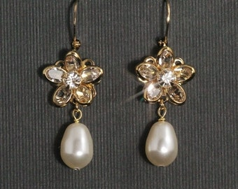 Crystal Pearl Earrings -- Swarovski Crystal Flower Bridal Earrings, Gold Dangle Wedding Earrings, Rhinestone Pearl Wedding Jewelry -- OLIVIA