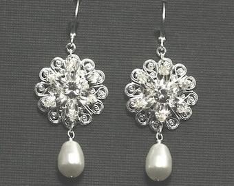 Dramatic Rhinestone Wedding Earrings, Vintage Bridal Earrings, Swarovski Crystal Pearl Wedding Jewelry, Pearl Dangle Earrings -- AVA