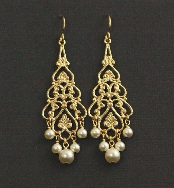 Gold pearl chandelier earrings pearl bridal earrings gold etsy image 0 aloadofball Image collections