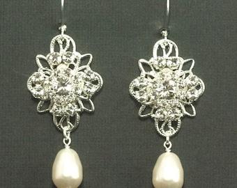 Rhinestone Pearl Earrings -- Rhinestone Chandelier Bridal Earrings, Silver Filigree Wedding Earrings, Pearl Wedding Jewelry -- ISABELLA