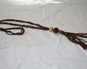 Autumn/ Seed bead, Tassel/ Necklace