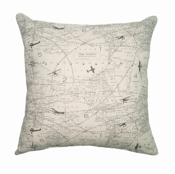 Airplane STUFFED Throw Pillow Map Throw Pillow Decorative Etsy Inspiration Airplane Decorative Pillow