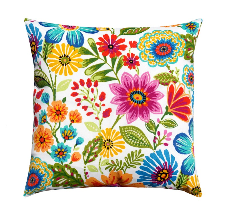 Floral Outdoor Pillow Pink Red Yellow Throw Pillow Etsy