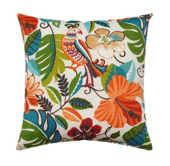 Red Orange Tropical Outdoor Throw Pillow Green Aqua Teal Etsy