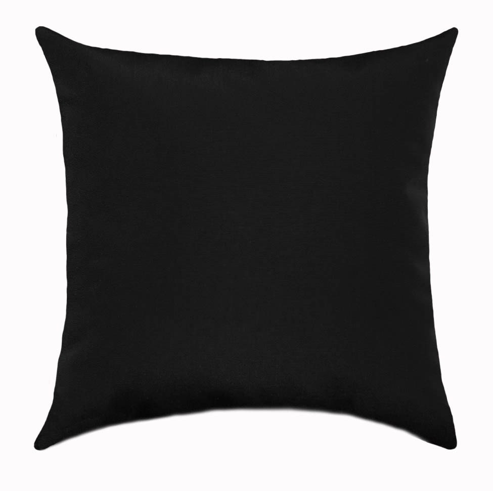 Black Solid Outdoor Stuffed Throw Pillow Fresco Black Outdoor Etsy