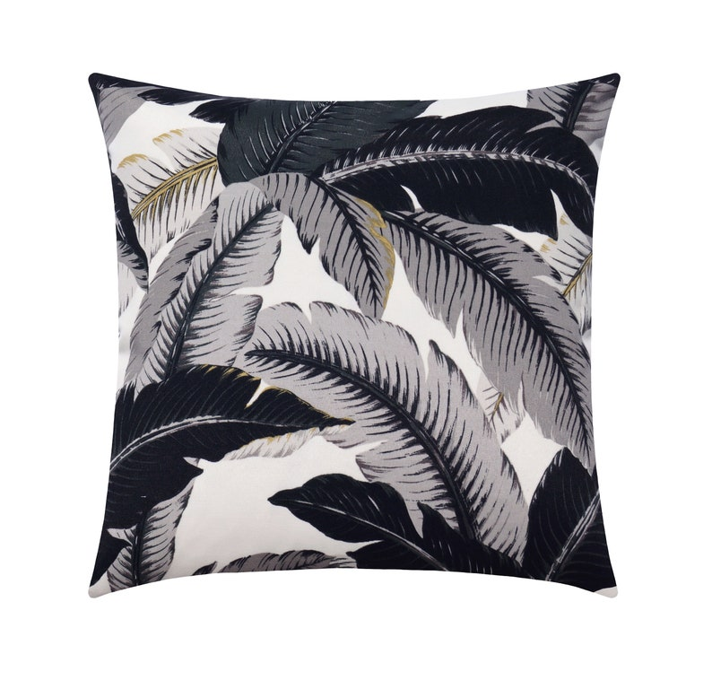 Black Grey Tropical Throw Pillow, Swaying Palms Onyx OUTDOOR Decorative  Pillow In Gray, Black And Ivory, 16 18 20 Banana Leaf Pillow