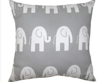 Elephant STUFFED Throw Pillow, Ele Storm Gray Decorative Pillow, Elephant Nursery Pillow, Gray Nursery Accent Pillow - Free Ship