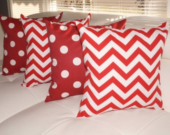 Polka Dot Red and White and Chevron Red Outdoor Throw Pillow - Set of 4 - Free Shipping