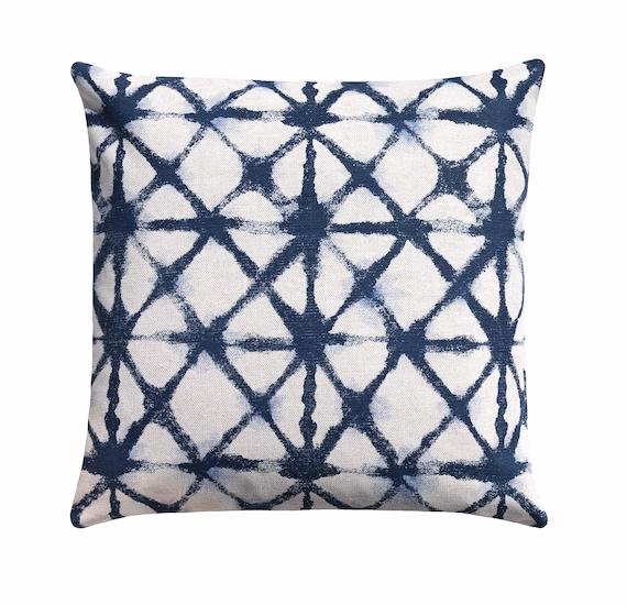 Shibori Throw Pillow Dark Blue Accent Pillow Geometric Toss Etsy Magnificent Dark Blue Decorative Pillows