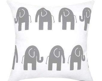 Nursery Pillow, Elephant Throw Pillow, Ele the Elephant Storm Grey STUFFED Decorative Pillow, Elephant Cushion - Free ship