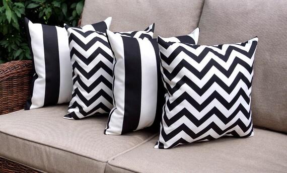 Black White Indoor Outdoor Pillows Chevron Black Pillow Etsy