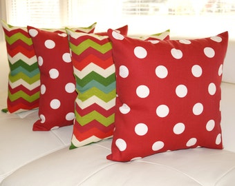 STUFFED Outdoor Pillow, Chevron and Polka Dot Red Christmas Outdoor Throw Pillow, Red and Green Pillows - Set of 4 - Free shipping
