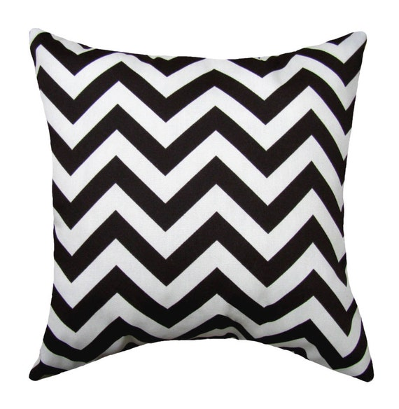 Black Outdoor Stuffed Pillow Black Chevron Pillow Black Etsy