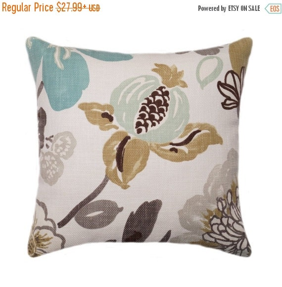 Floral Stuffed Throw Pillow, Braemore Gorgeous Pearl Floral  Throw Pillow In Taupe, Brown, Blue, Large Scale Floweral Pillow   Free Ship by Etsy