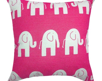 Pink Elephant Pillow, Candy Pink Nursery Throw Pillow, Hot Pink Elephant Toss Pillow, Elephant Throw Pillow, Pink White Pillow - Free Ship