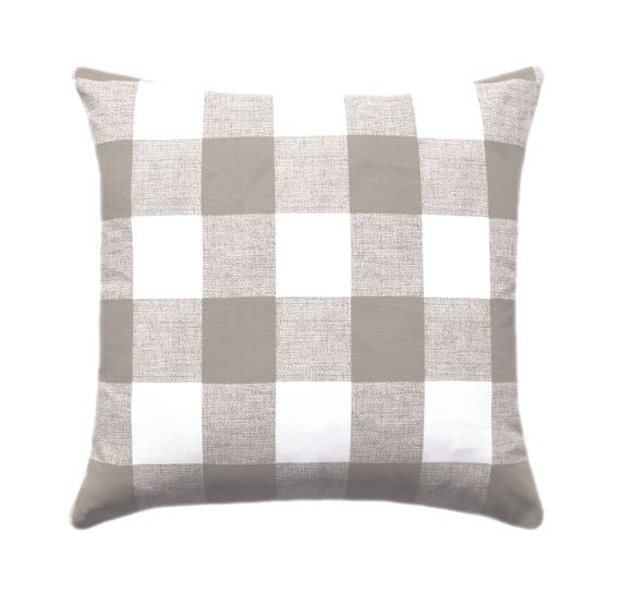 Fantastic Taupe White Buffalo Check Throw Pillows Plaid Taupe Cushion Taupe Ecru White Couch Pillow Tan Decorative Throw Pillow Check Pillow Cjindustries Chair Design For Home Cjindustriesco