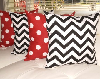 Chevron Black and White and Polka Dot Red Outdoor Throw Pillow - Free Shipping