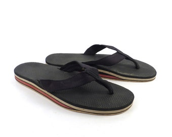 0011a2e359dcc9 1980s Flip Flops Vintage Sandals Red Gray Black Stripe Foam 80s Eighties  Scott Men s size 8