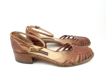 0ed23ec89e6 Joan and David shoes Brown Vintage 1980s Couture Leather Shoes Heels Women s  size 37 1 2