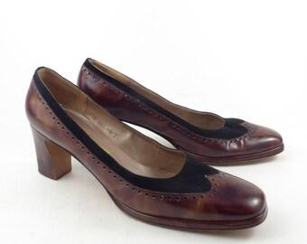 9abc60ef91e5 Spectator Shoes Heels Vintage 1960s Ferragamo Heels Leather size 9 S