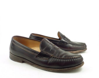 e691a17b3fe Frye Penny Loafers Vintage 1980s Shoes Burgundy Brown Leather men s size 8  1 2