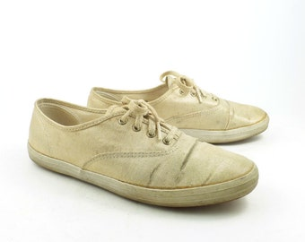 cab16bfa6f0 Keds Canvas Sneakers Vintage 1990s Champions Gold Metallic Women s size 7  1 2