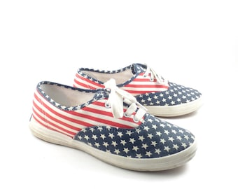 c0670586084 Keds Canvas Sneakers Vintage 1990s Champions Flag Stars and Stripes Women s  size 5 1 2
