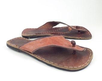 f341fb30dd0e Vintage 1970s Leather Huarache Sandals With Tire Soles Flip Flops