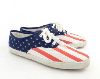 17a07cfe535 Canvas Sneakers Vintage 1990s Champions Flag Stars and Stripes Women s size  8