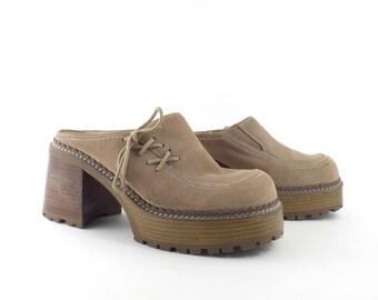 7acdfa6c0433 Skechers Suede Clogs Vintage 1990s Y2K Chunky Mules Women s size 8 1 2