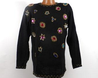 0251dc53286 Flashy Beaded Sweater Vintage 1980s Knit Oversize Black Gem Ugly Christmas  Holiday Tacky Women s size M