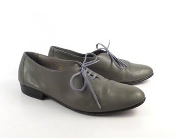 ccc8792625b7 Gray Leather Shoes Vintage 1980s Oxfords Hippopotamus men s size 8 D