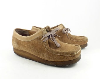 e38f4b6713df Clarks Wallabee Shoes Oxford Wedges Vintage 1980s Lace Up Tan Brown  SuedeLeather size UK 5 Eur 38