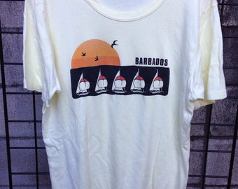 Barbados Shirt Vintage 1980s Tee T 50/50 XL