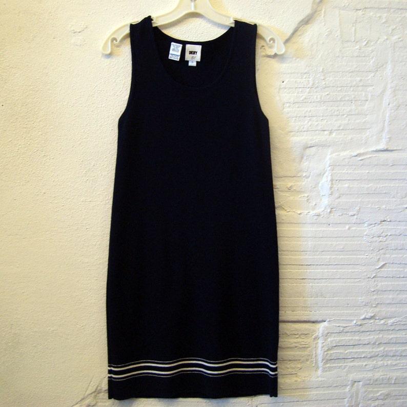 5e57299dda8 Sweater Dress Vintage DKNY Blue and White Knit