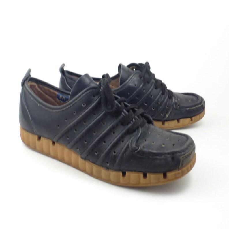 45448146d4a Famolare Oxford Shoes Vintage 1970s Lace Up Wedges Blue