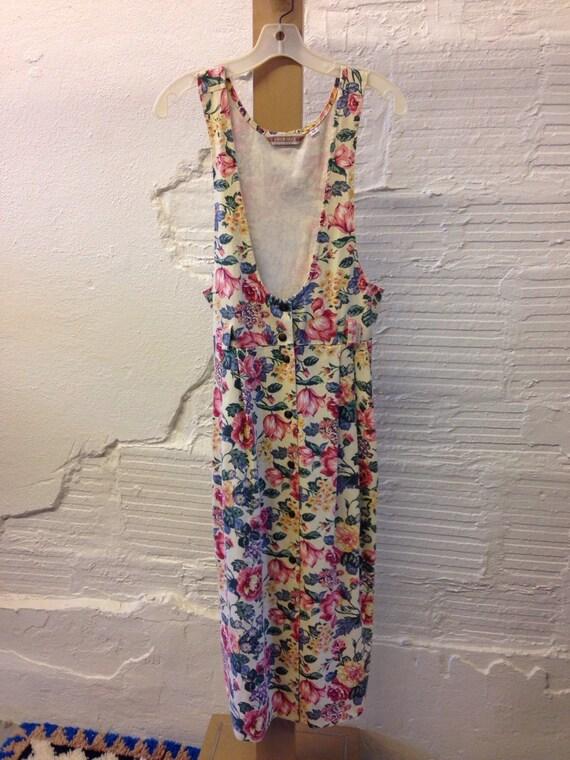 Floral Denim Dress Vintage 1990s Maxi Dress Cherok