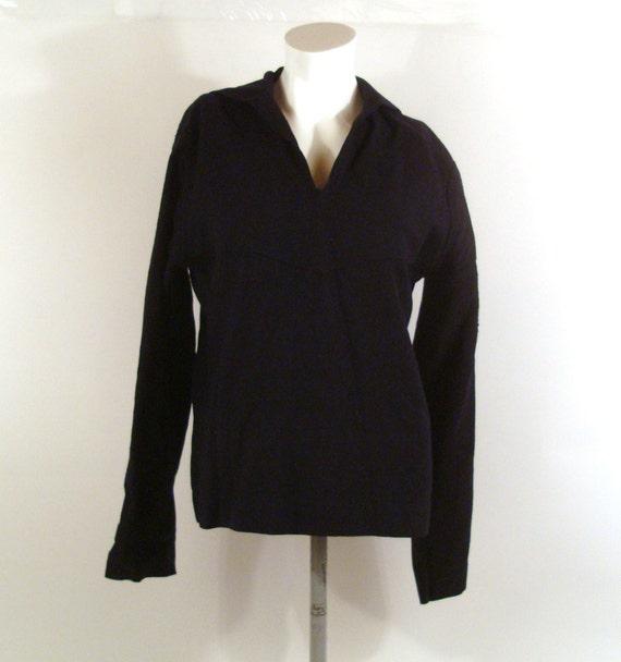 Wool Shirt Vintage 1990s Middy Men's Navy