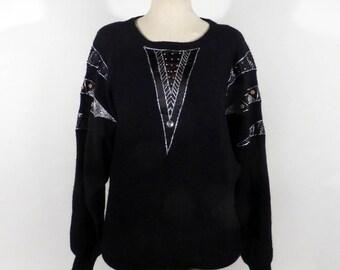 Gem Sequin Sweater Vintage 1980s Knit Black Batwing Beaded Women's Size M Carducci