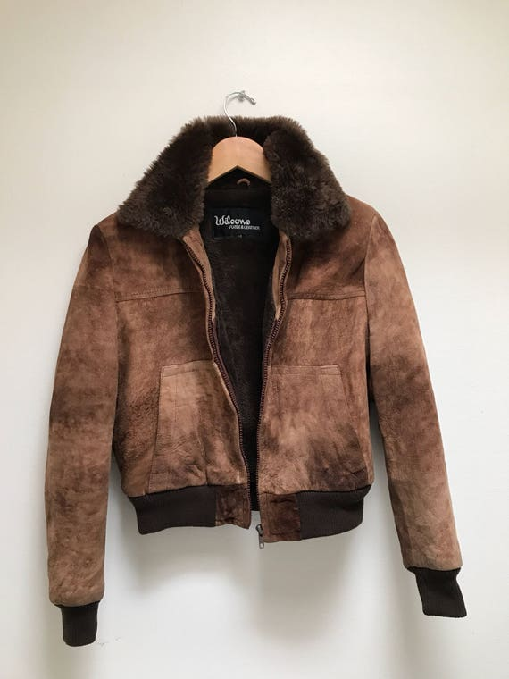 Wilsons Leather Jacket 1980s Brown Shearling Coat