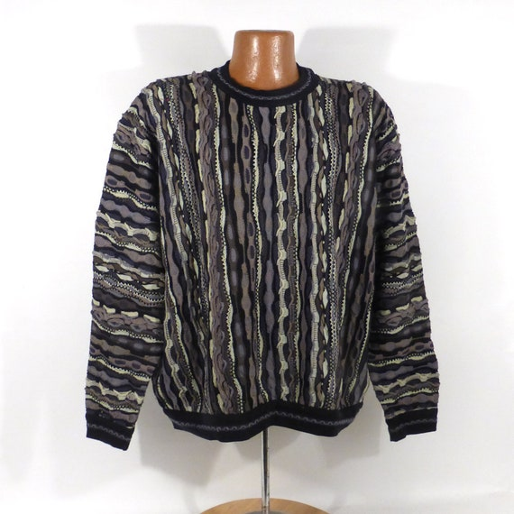 Coogi Sweater Jumper Vintage 1990s Black and Gray