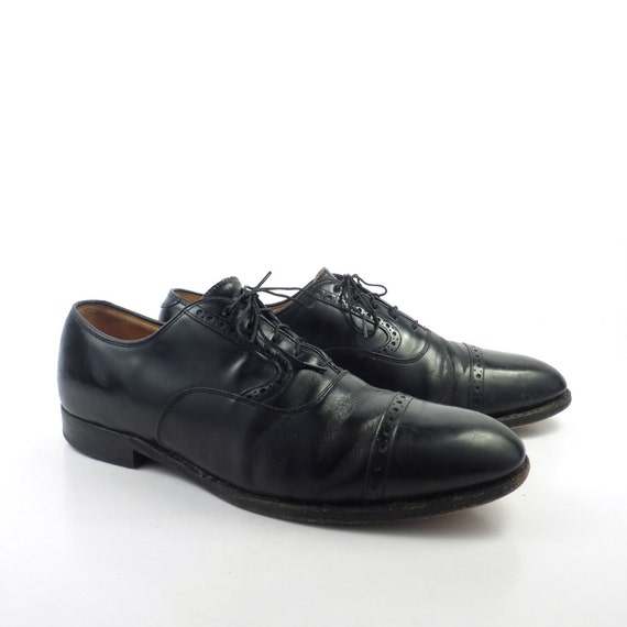 Black Oxford Shoes Leather Vintage 1980s Johnston