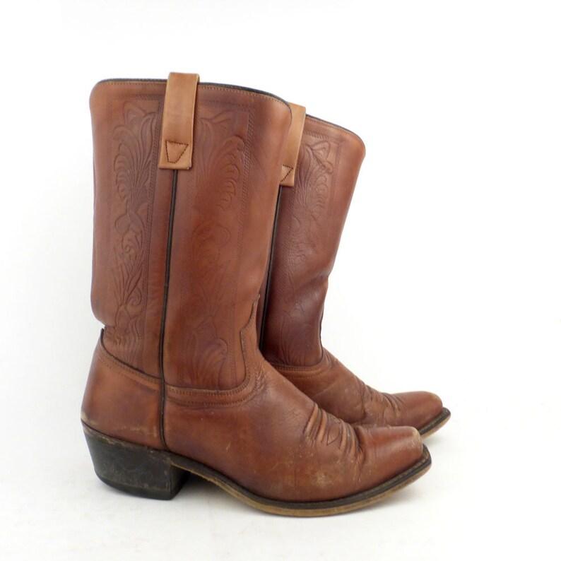 7ccbd8887db6a Campus Leather Boots Vintage 1970s Carmel brown Cowboy Acme Men's size 8 1/2