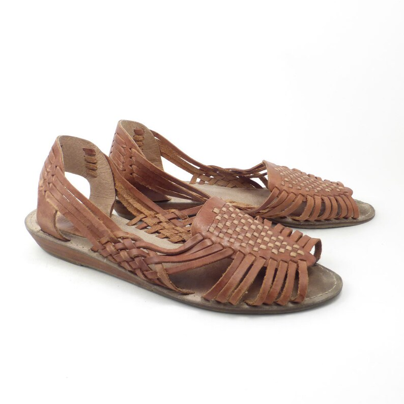 3576f2a1457bf Brown Woven Sandals Vintage 1980s Ellemenno Leather Huaraches Women's size  8 1/2 M