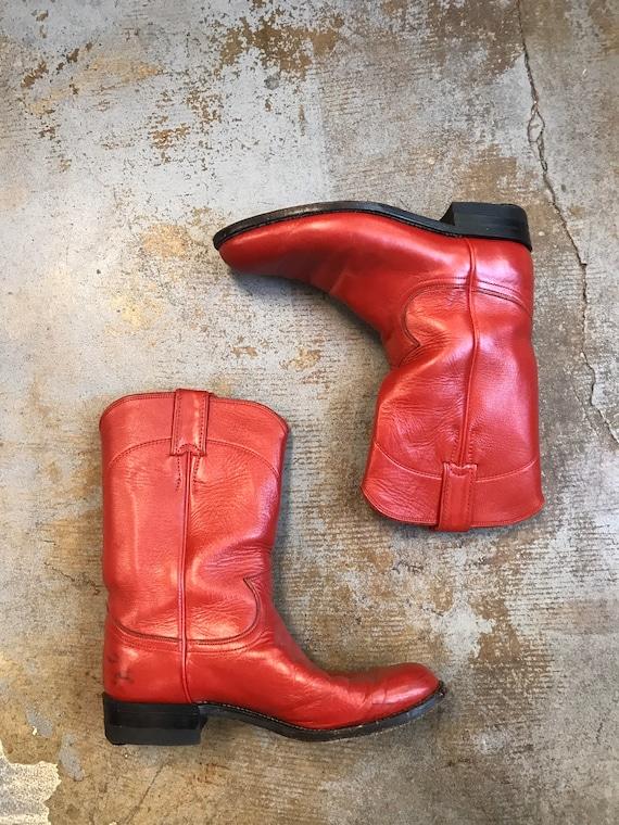 Red Cowboy Boots Vintage 1980s Justin Roper Women'