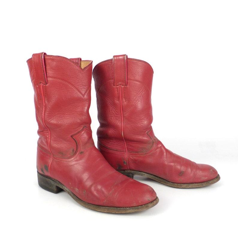 9dc996420b6 Red Cowboy Boots Vintage 1980s Justin Roper Women's size 6 1/2 B