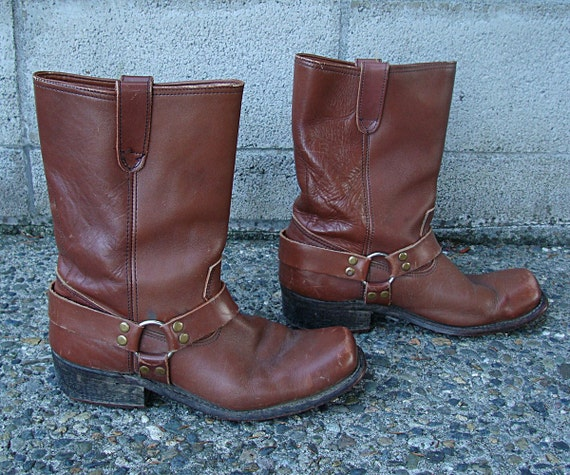 Brown harness Boots Vintage 1970s Brown Leather Mo