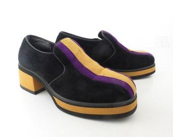 Hush Puppies Platform Shoes  Vintage 1990s Leather Blue Shoes Women's size 8 1/2