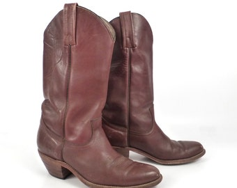 Frye Campus Boots Vintage 1980s Russet Burgundy Whiskey Brown Cowboy Leather Men's 9 1/2
